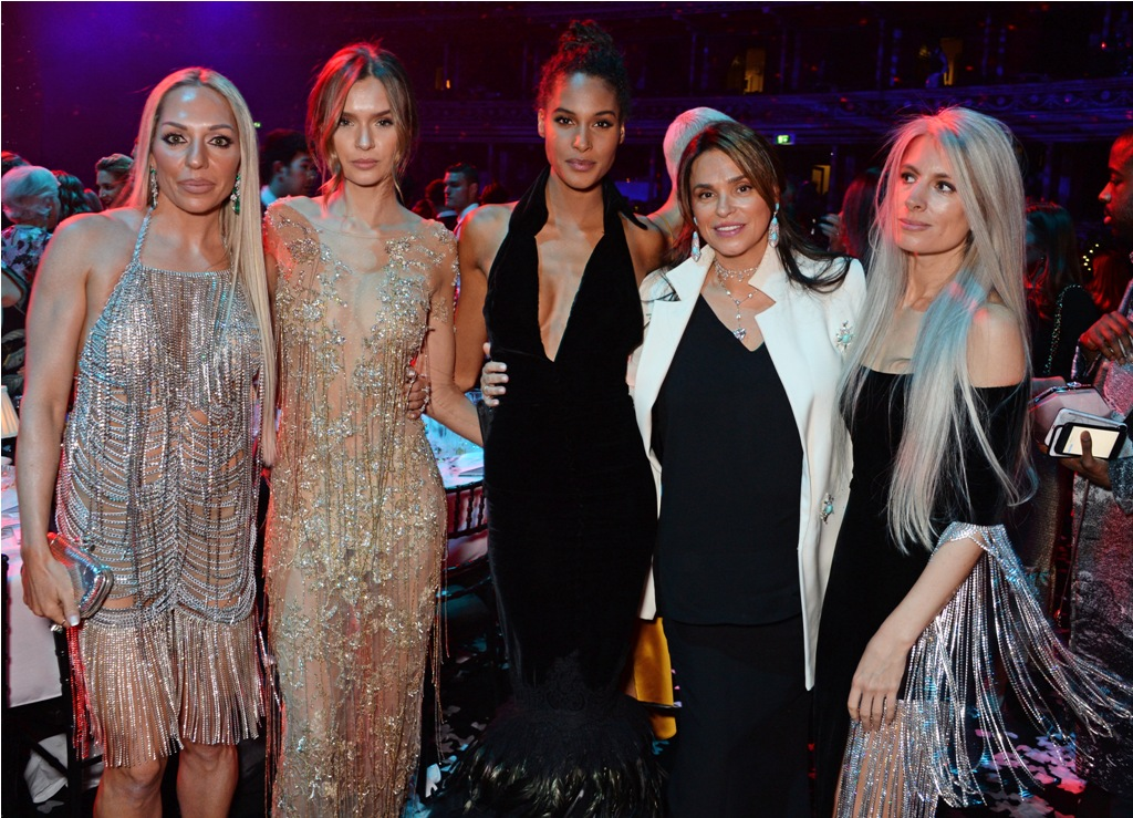 LONDON, ENGLAND - DECEMBER 10:  (L to R)  Tess Daly, Elena Temnikova, Guest, Cindy Bruna, Celia Kritharioti and Sarah Harris attend The Fashion Awards 2018 in partnership with Swarovski after party at the Royal Albert Hall on December 10, 2018 in London, England. (Photo by David M. Benett/Dave Benett/Getty Images) *** Local Caption *** Tess Daly; Elena Temnikova; Guest; Cindy Bruna; Celia Kritharioti; Sarah Harris