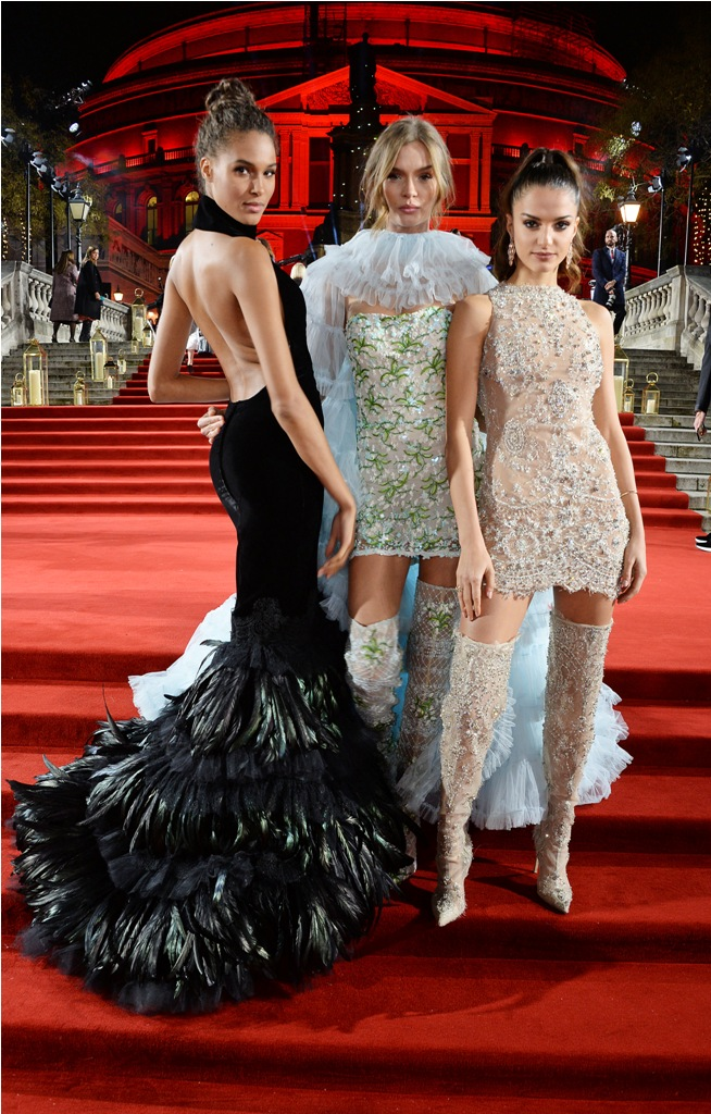 LONDON, ENGLAND - DECEMBER 10:  (L to R)  Cindy Bruna, Josephine Skriver and Gabrielle Caunesil arrive at The Fashion Awards 2018 in partnership with Swarovski at the Royal Albert Hall on December 10, 2018 in London, England.   Pic Credit: Dave Benett   *** Local Caption *** Cindy Bruna; Josephine Skriver; Gabrielle Caunesil