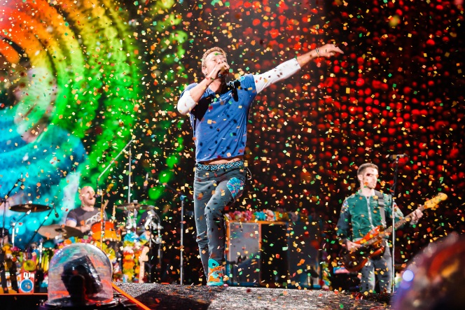 Coldplay in their concert in Sao Paolo